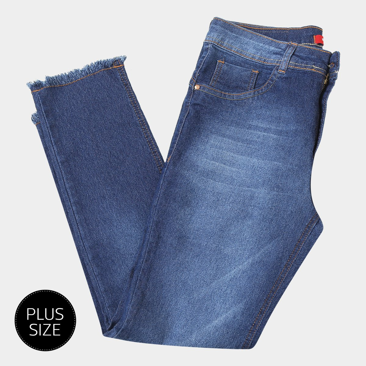 88d0381bb Calça Jeans Biotipo Midi Alice Barra Desfiada Plus Size Feminina