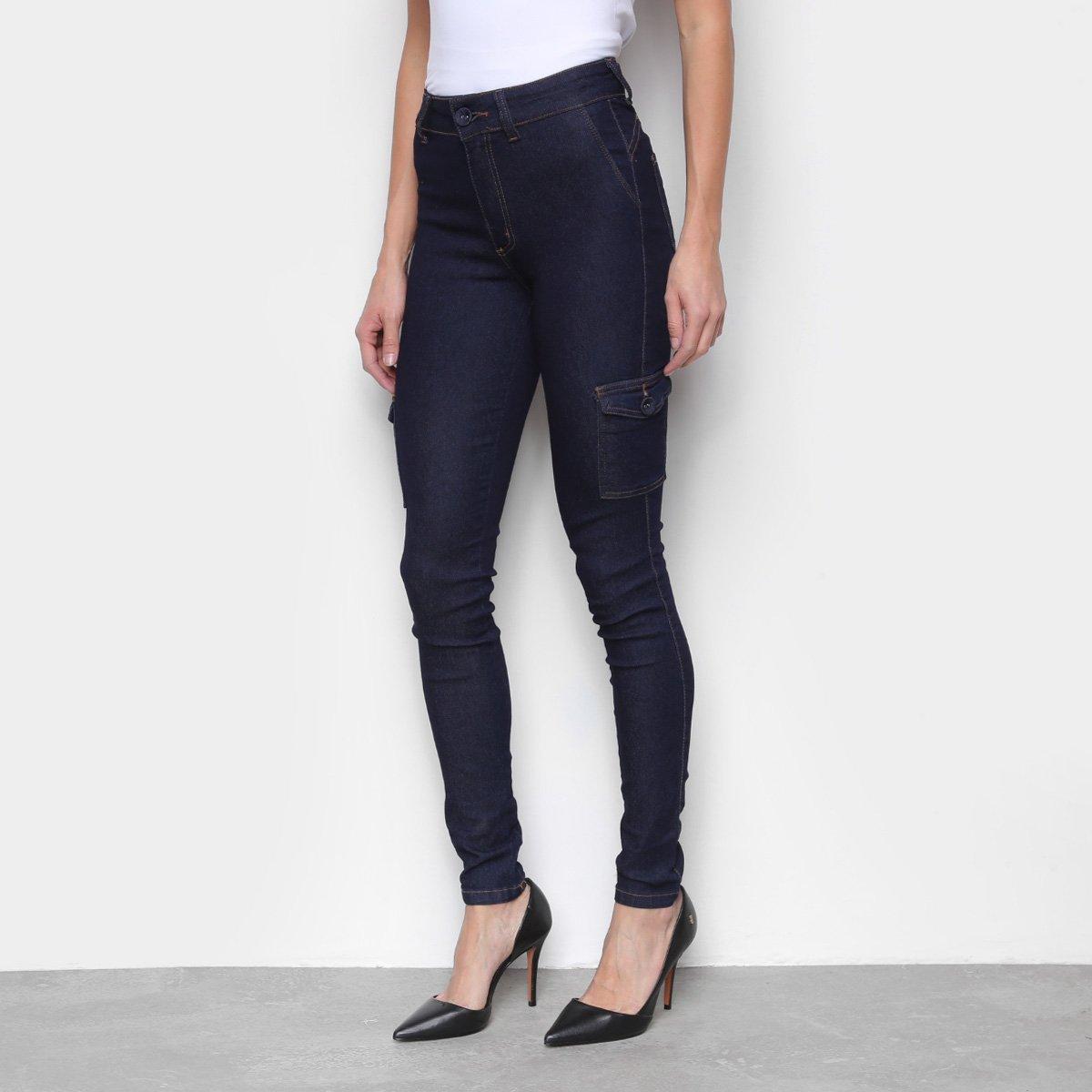 Calça Jeans Skinny Biotipo Bolso Lateral Cintura Média Feminina