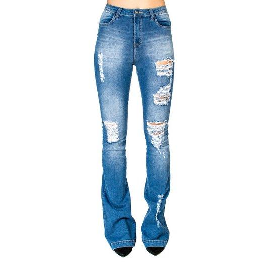 8f9a4e566 Calça Jeans Flare Destroyed Handbook - Azul | Zattini
