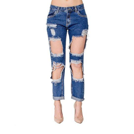 a6136e22061b5 Calça Jeans Destroyed Boyfriend Handbook - Azul - Compre Agora