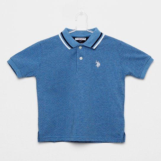 Camisa Polo Infantil Polo U.S.POLO Assn Estampada Mini Print Masculina -  Azul 836730f72a629