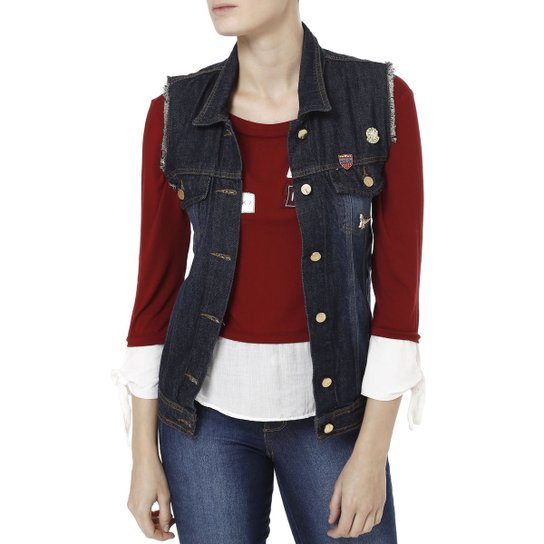 a7615bfdc1 Colete Jeans Feminino Zune Azul - Compre Agora