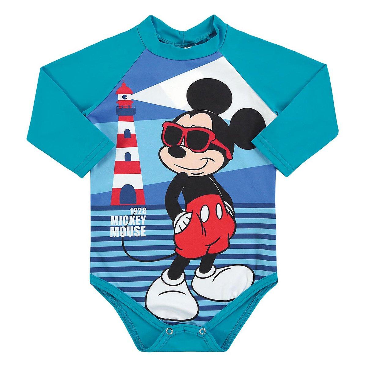 Macacão Bebê Marlan Body Proteção UV Disney Mickey Manga Longa Masculino