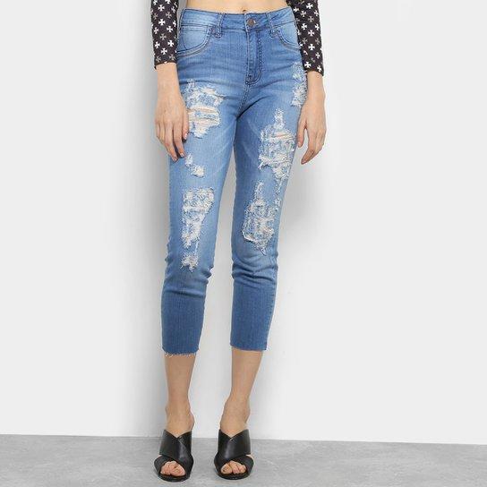 1c2e84dde Calça Jeans Skinny Cropped Coca-Coca Destroyed Cintura Alta Feminina - Azul