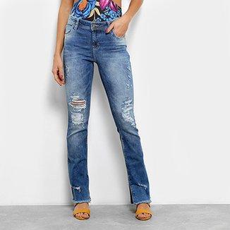18ac4696e5 Calça Jeans Bootcut Coca-Cola Estonada Destroyed Cintura Média Feminina