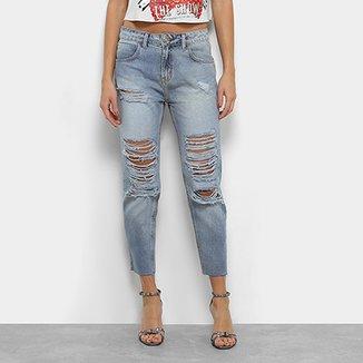 632cb926a Calça Jeans Boyfriend Coca-Cola Destroyed Cintura Alta Feminina