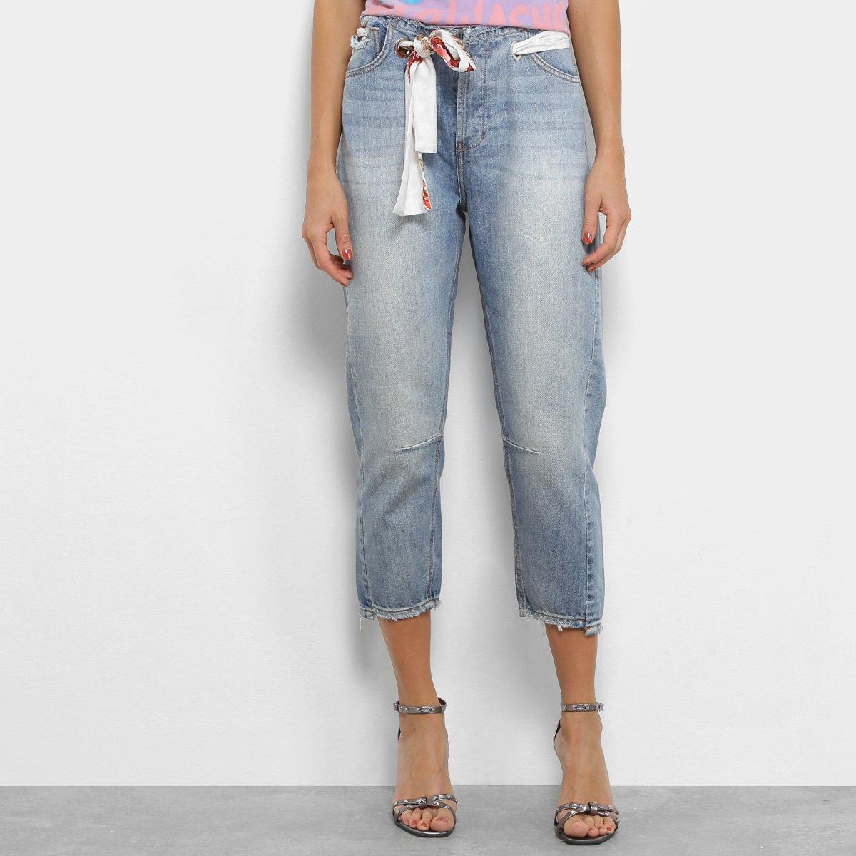 e25a43ee6 Calça Jeans Capri Coca-Cola Faixa Cintura Baixa Feminina