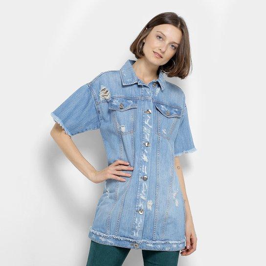 d4e95749f3 Colete Camisa Jeans Coca-Cola Manga Curta Desfiado Puídos Feminino - Azul