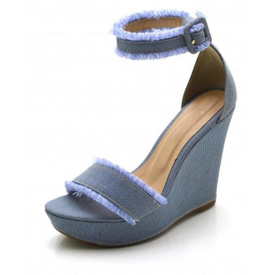 82c81016fa Sandália Anabela DuduDias10 Salto Alto em Tecido Feminina - Azul ...