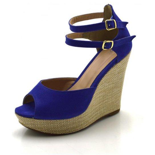 e59e240f01 Sandália Anabela DuduDias10 Duas Tiras Feminina - Azul - Compre ...