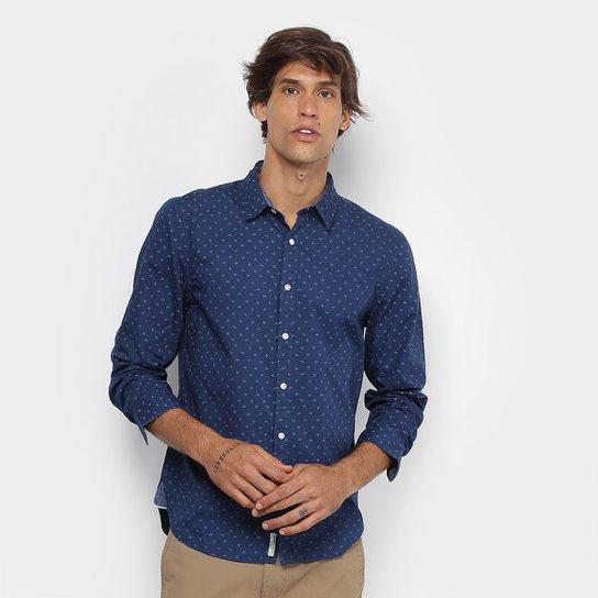 8ff5da15e6fc2 Camisa JAB Slim Fit Mini Print Masculina - Azul | Zattini