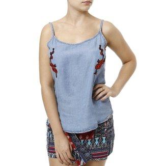826a486d9 Blusa Regata Jeans Cativa Feminina
