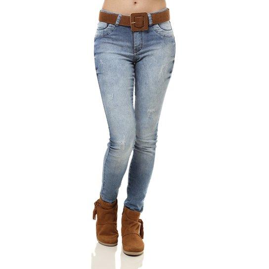f62744ae5 Calça Jeans com Cinto Feminina Azul - Compre Agora   Zattini