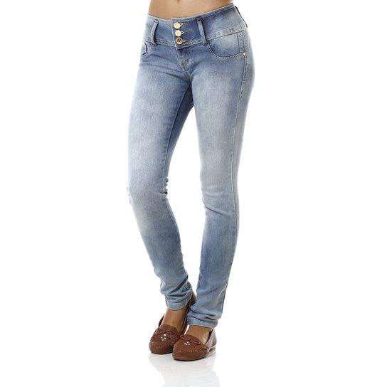 b6e4f619b Calça Jeans Feminina com 3 Botões Azul | Zattini