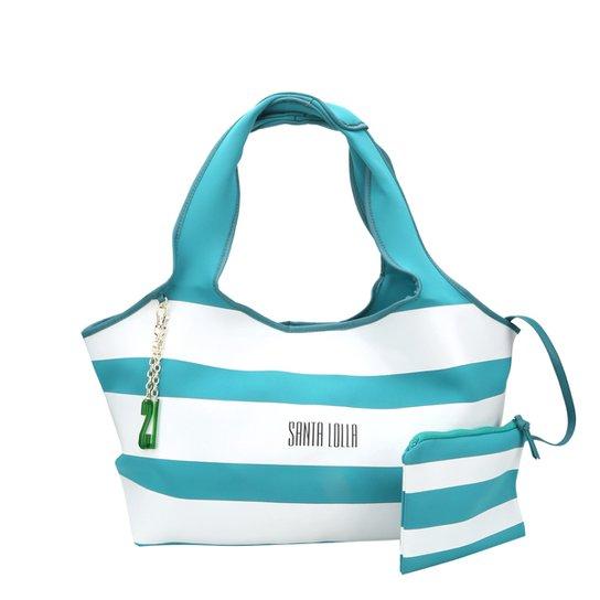 87285777f Bolsa Santa Lolla Listrada com Clutch Feminina - Azul Turquesa+Branco
