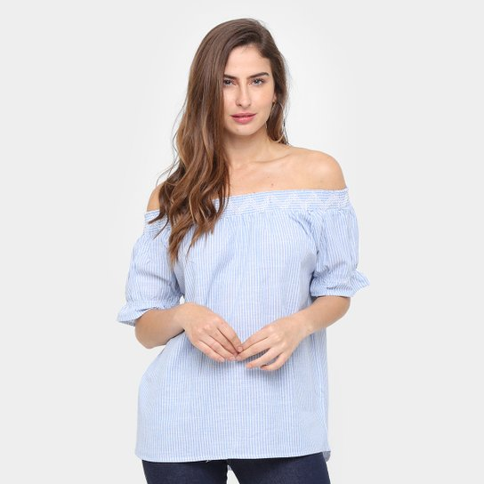 d58d6a568a Blusa Facinelli Ombro a Ombro Listrada Bordada Feminina - Azul Claro