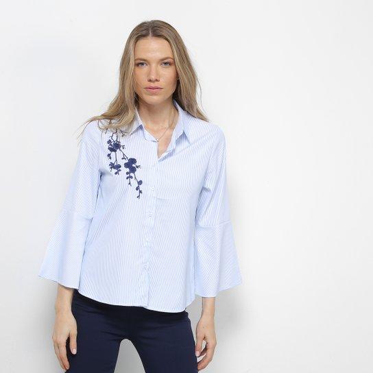 5be9b3266 Camisa Facinelli Listrada Bordada Feminina - Azul - Compre Agora ...