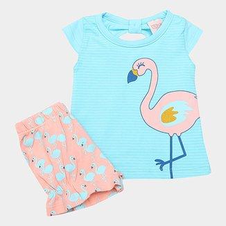 Conjunto Infantil Kiko   Kika Flamingo Feminino 5dbeff42005