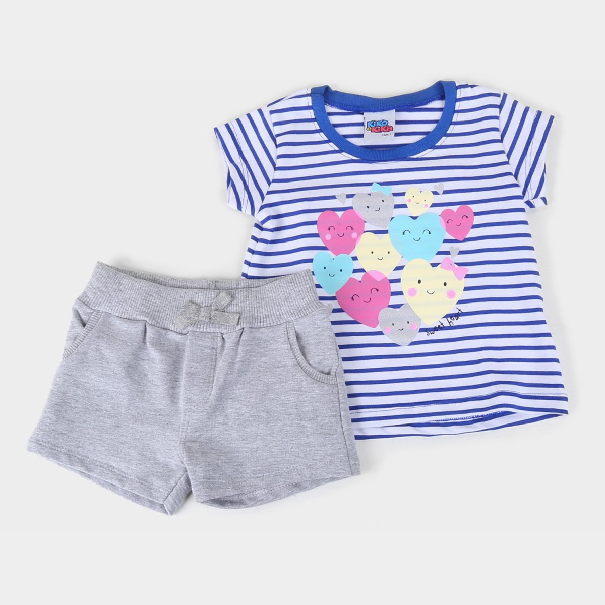 Conjunto Infantil Kiko & Kika Blusa E Shorts Molecotton Listrado Feminino