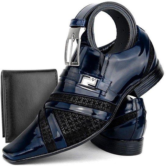 4ef1f6fce Kit de Sapato Social Couro Envernizado SapatoFran Clássico com Cinto e Carteira  Masculino - Azul