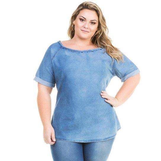 938b821d7 Blusa T-shirt Confidencial Extra Plus Size Jeans com Pedraria Feminina -  Azul