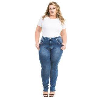 f1dadf088 Calça Confidencial Extra Plus Size Jeans Cigarrete com Elastano Feminina