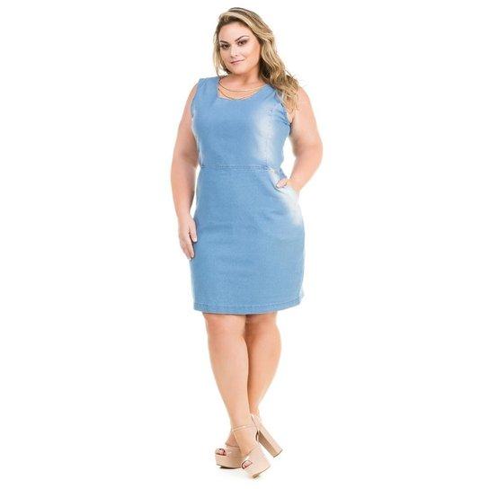 cc9fa802d Vestido Confidencial Extra Plus Size Jeans Tubinho com Correntes Feminino -  Azul