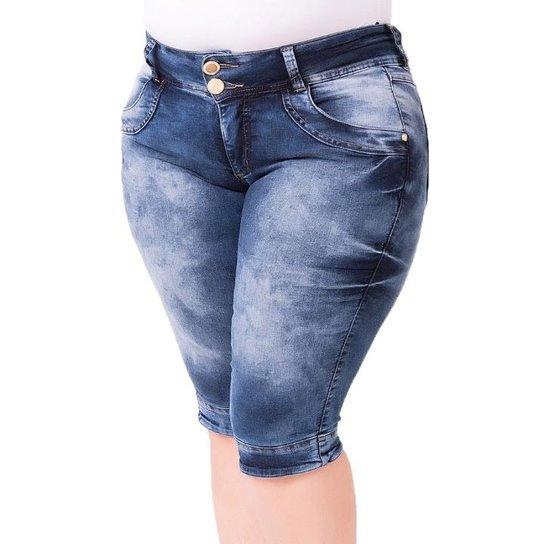 8f51905736 Bermuda Confidencial Extra Plus Size Jeans Maria João Feminino - Azul