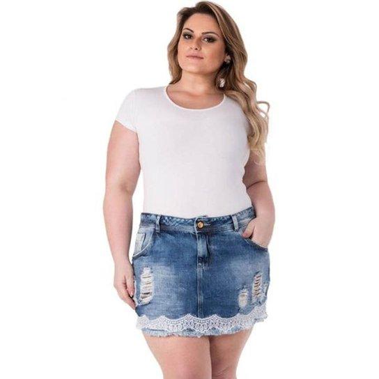 180537b22 Mini Saia Confidencial Extra Plus Size em Jeans com Renda Feminina - Azul