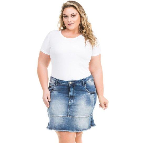 070dd9fbf Saia Confidencial Extra Plus Size Jeans com Babado Feminina - Azul ...