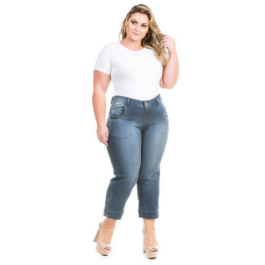 5a5ea4e9f4 Calça Confidencial Extra Plus Size Cropped Jeans Feminina - Azul ...
