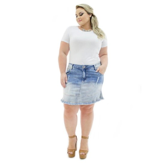 3e0ed2a6e Saia Curta Confidencial Extra Plus Size Jeans com Babado Feminina - Azul.  Loading.