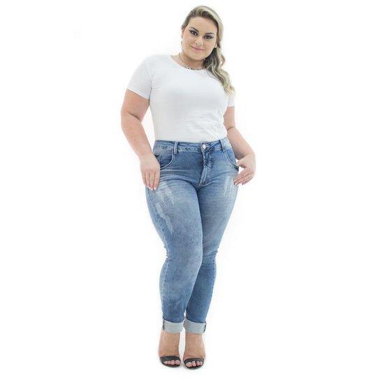 f92c7b5ad95c Calça Jeans Confidencial Extra Plus Size Cigarrete Destroyed Feminina - Azul