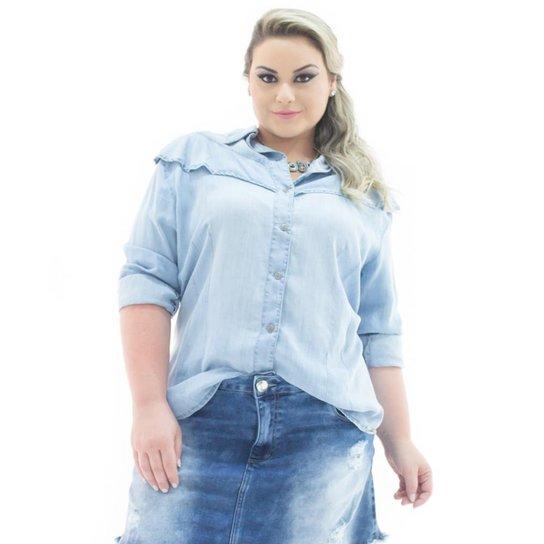 d71a34e34 Camisa Jeans Confidencial Extra Manga Longa com Babado Plus Size Feminina -  Azul