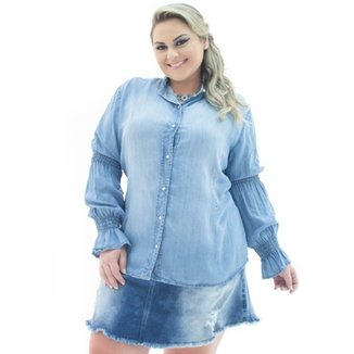03b274726 Camisa Jeans Confidencial Extra Manga Longa Flare Plus Size Feminina