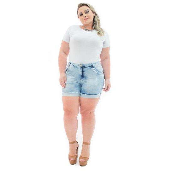 31e4d368aa067f Shorts Confidencial Extra Jeans Cintura Alta com Lycra Plus Size Feminino -  Azul