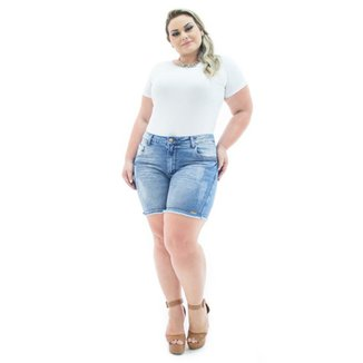 87a0666813 Shorts Confidencial Extra Jeans Squash com Lycra Plus Size Feminino