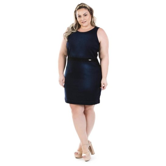 6fecd5d93 Vestido Jeans Regata Luck Plus Size Feminino - Azul - Compre Agora ...