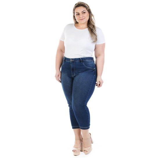 29a5683f8 Calça Jeans Feminina Confidencial Extra Capri Dumont Plus Size - Azul