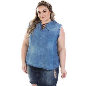 9e97d56123 Regata Feminina Jeans com Decote Trançado Plus Size