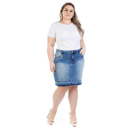 ea7c1f4df9a Saia Jeans Midi Squash Barra Desfeita Plus Size Feminina - Azul ...