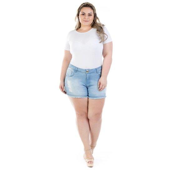 Shorts Jeans Feminino Curto Destroyed Plus Size - Azul - Compre ... ec24cb99efc9d