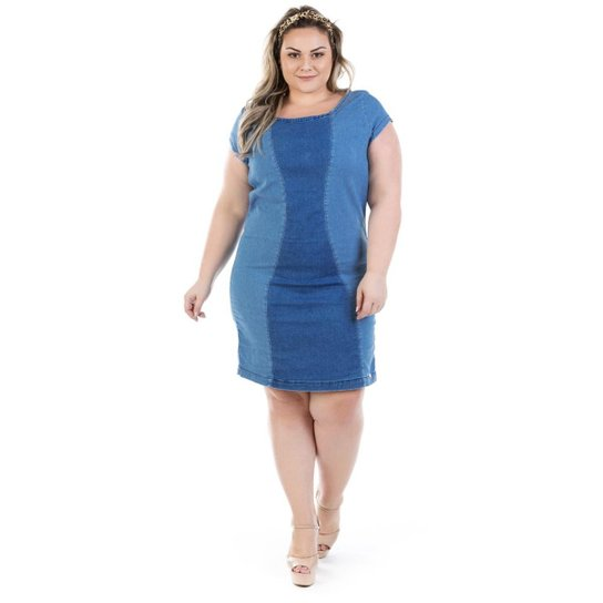 547f5ad72b Vestido Jeans Manga Confidencial Extra Curta Vinil Plus Size Feminino - Azul