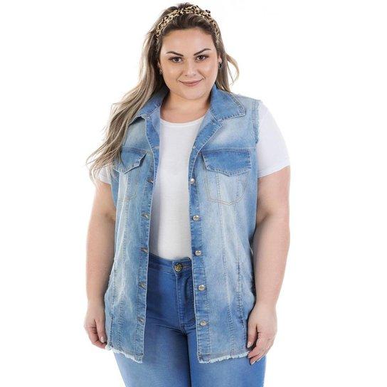 57314523e2 Colete Plus Size Jeans Maxi Vinil com Elastano Feminino - Azul