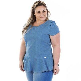 c62533766e Blusa Confidencial Extra Plus Size Jeans Vinil Peplum