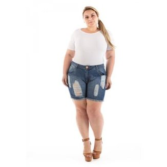 17be0c703 Shorts Confidencial Extra Jeans Destroyed Plus Size Feminino