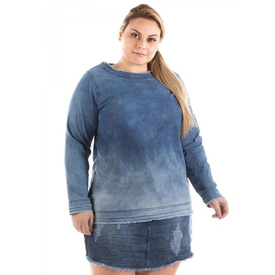 5bd7ac794d Blusa Jeans Confidencial Manga Longa Plus Size Feminina - Azul | Zattini