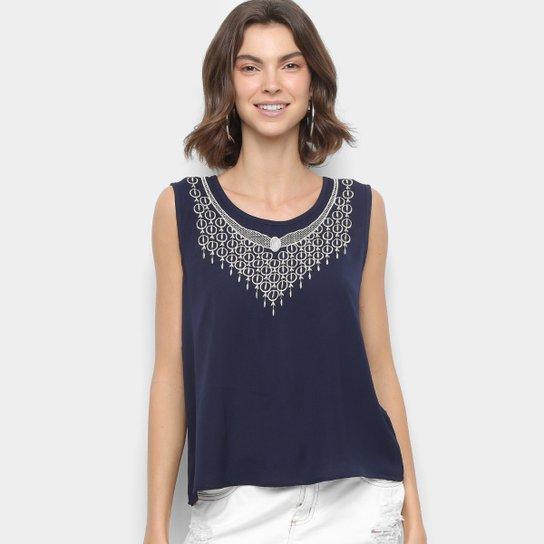 4edb9bd17d Blusa MS Fashion Regata Bordada Feminina - Azul