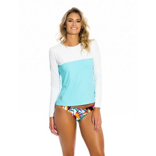 4955203139 Camisa Kalini Beachwear UV Feminina - Azul - Compre Agora