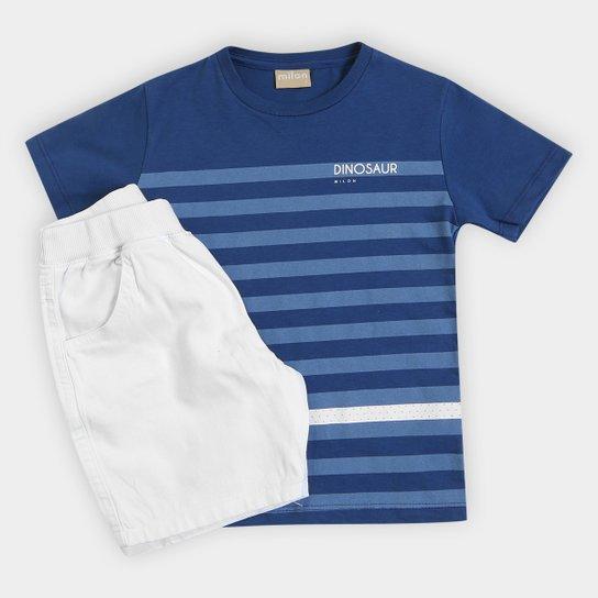 92e74cc45f2678 Conjunto Infantil Milon Camiseta e Bermuda Masculina - Azul